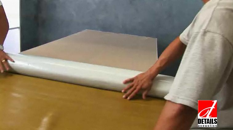 Se aplica membrana fonoizolanta BlockTec 50 pe placa de gips carton acustic